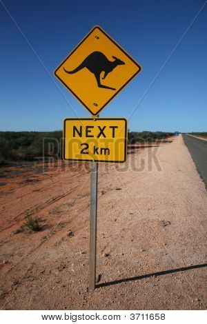 Australian Kangaroo Road Sign
