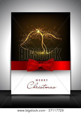 Merry Christmas gift card or greeting card decorated with shiny jingle bells and red ribbon. EPS 10.