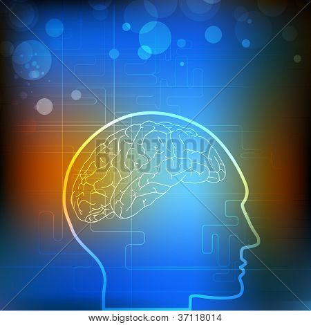 Vector illustration of medical background or template with human brain, molecules in blue. EPS 10.