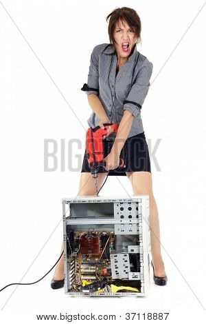 insane business woman destroying computer with electric drill