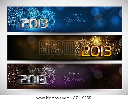 New year website header and banner set. EPS 10.
