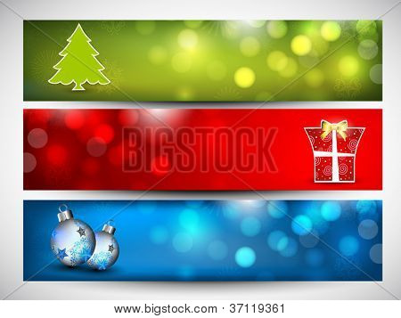 Merry Christmas website header or banner set decorated with  Xmas tree, gifts, evening balls, snowflakes and lights. EPS 10.