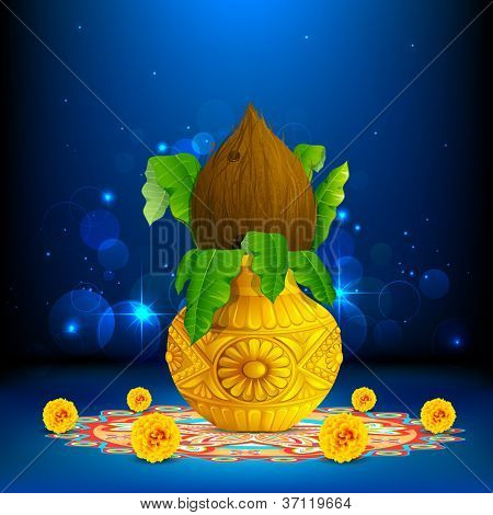 illustration of coconut in mangal kalash on colorful rangoli for hindu festival