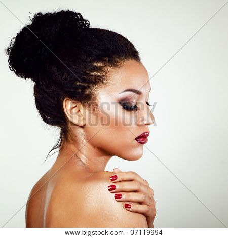 young mulatto fresh fashion woman with beautiful makeup, beauty portrait isolated