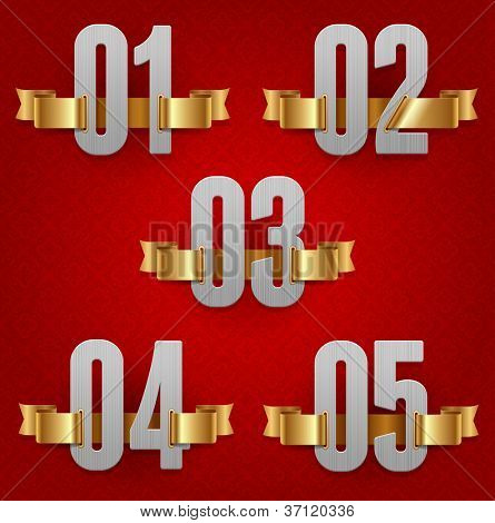 Vector numbers with golden ribbons (red background - seamless)