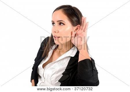 Isolated woman listening at something