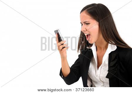 Isolated young business woman screaming at phone