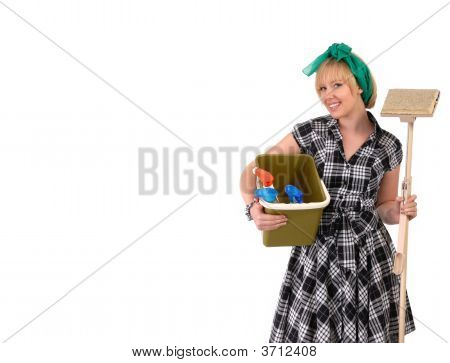 Housework Woman With Mop