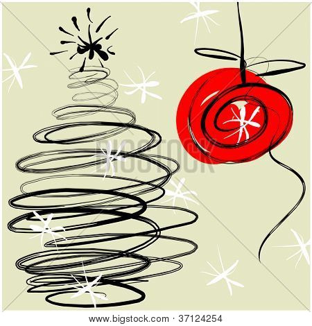 art sketching vector christmas tree  and ball. Vector version is also in my gallery.