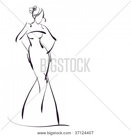 art sketching beautiful young bride in a wedding dress on white background. Vector version is also in my gallery.