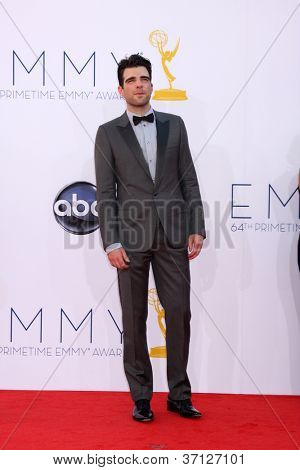 LOS ANGELES - SEP 23:  Zachary Quinto arrives at the 2012 Emmy Awards at Nokia Theater on September 23, 2012 in Los Angeles, CA