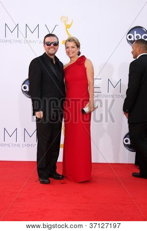 LOS ANGELES - SEP 23:  Ricky Gervais arrives at the 2012 Emmy Awards at Nokia Theater on September 23, 2012 in Los Angeles, CA