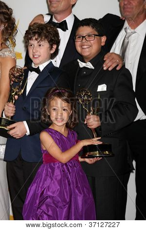 LOS ANGELES - SEP 23:  Nolan Gould, Aubrey Anderson-Emmons, Rico Rodriguez in the press room of the 2012 Emmy Awards at Nokia Theater on September 23, 2012 in Los Angeles, CA