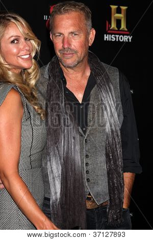 """LOS ANGELES - SEP 22:  Kevin Costner arrives at the """"HATFIELDS & McCOYS"""" Pre-Emmy Party. at SOHO Club on September 22, 2012 in West Hollywood, CA"""