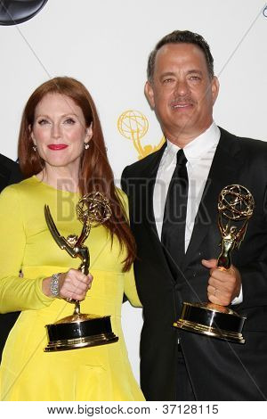 LOS ANGELES - SEP 23:  Julianne Moore, Tom Hanks in the press room of the 2012 Emmy Awards at Nokia Theater on September 23, 2012 in Los Angeles, CA