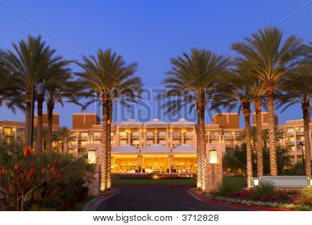 Luxury Tropical Hotel Resort Front Entrance At Twilight