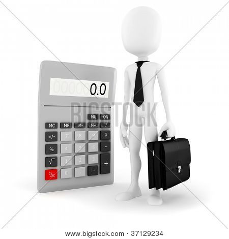 3d man business man standing near a big calculator over white background