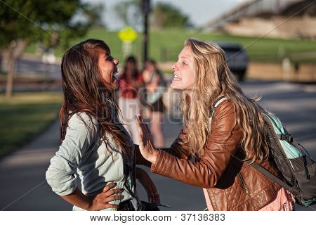 Two Excited Students Talking