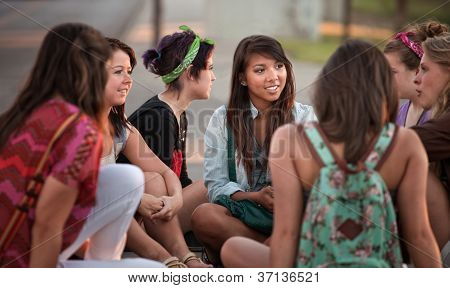 Female Students Talking Outdoors