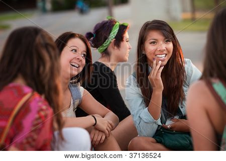 Fascinated Asian Teen With Friends