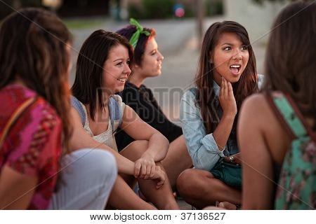 Disgusted Young Woman With Friends