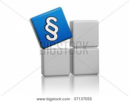Blue Cube With Paragraph Sign On Boxes