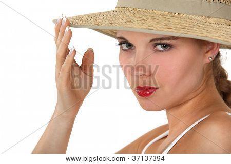 Woman wearing a wide-brimmed hat