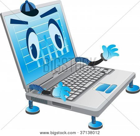 imagen digital de computadora portátil con manos humanas y los ojos
