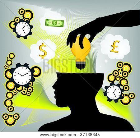 human hand putting idea bulb in human brain