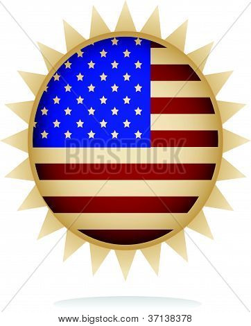 illustration of a badge with american flag design