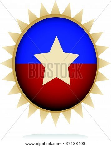 illustration of a retro badge with star shape design