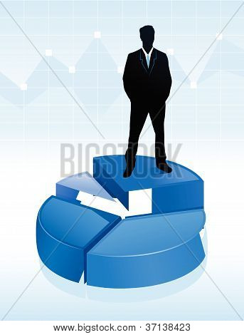 illustration of businessman standing on a pie chart