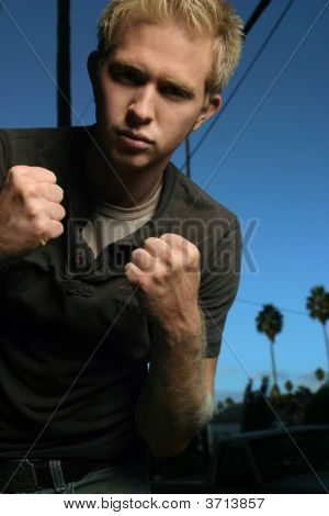 Young Man Fighting