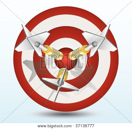 three dart pin in a dart target