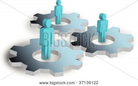 vector image of cogs and people