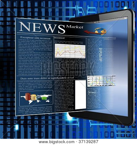 vector image of news in palmtop