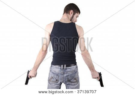 Young man with guns