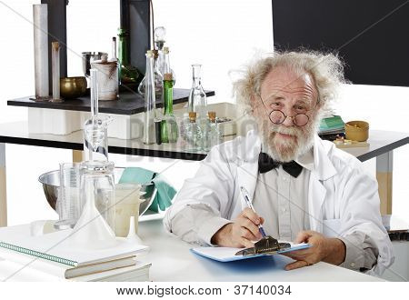 Eccentic Scientist In Lab Holding Pen And Clipboard