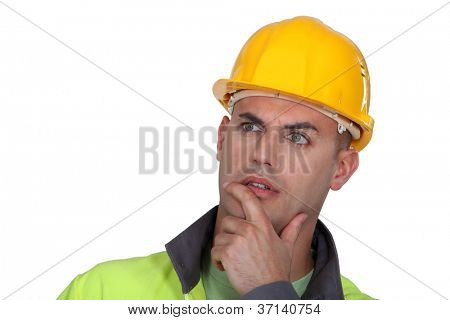 Portrait of pensive worker