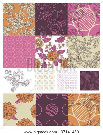 Contemporary Floral Seamless Patterns.  Use to create patchwork pieces for quilts or digital paper for craft projects.