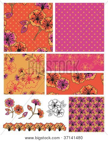 Bollywood style bright seamless vector patterns and icons.