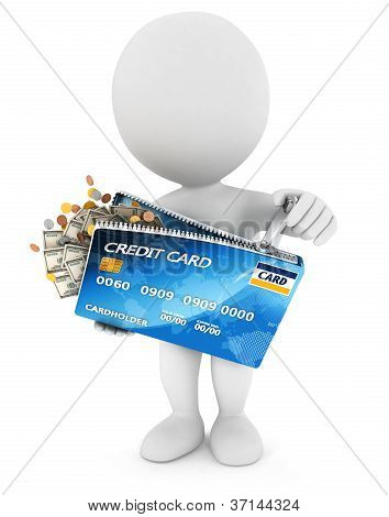 3d white people opens a credit card
