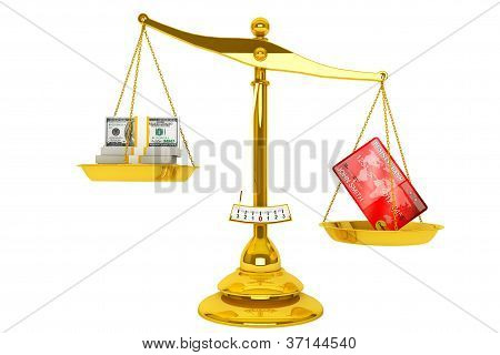 Credit Card And Dollars With Scale