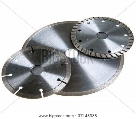 Diamond discs for tile cutting .Still-life on a white background