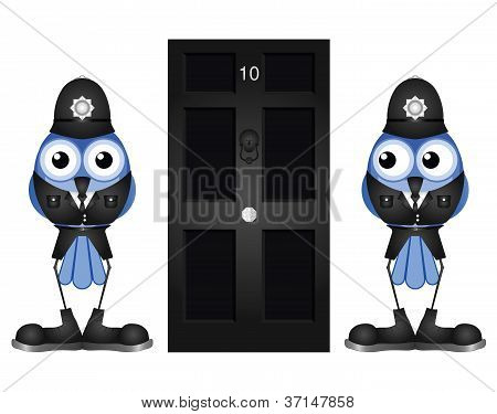 Police guarding door
