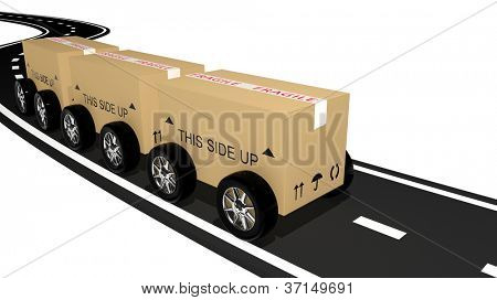 Shipping cardboard on the road