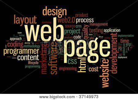 Web page concept in word tag cloud on black background
