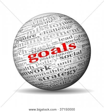 Goals in project and management concept in word tag cloud on 3d sphere