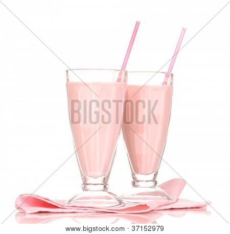 Pink milk shakes isolated on white