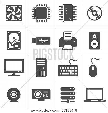 Iconos de Hardware de computadora. Componentes de la PC. Cada icono es un único objeto (trazado compuesto)